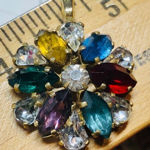 Upcycled Vintage Multicolor RS Flower Pendant